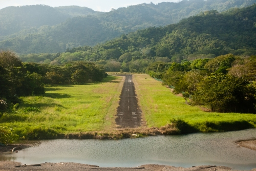 About to land on a dirt runway in Tambor, Costa Rica.