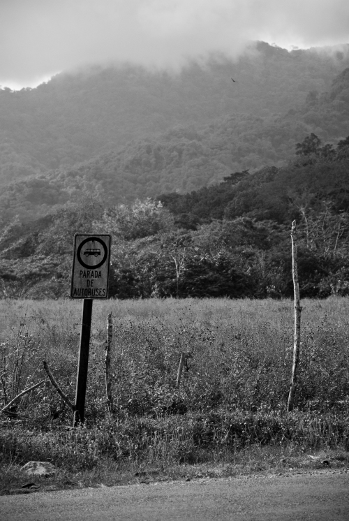 A sign near the airstrip in Tambor, Costa Rica.