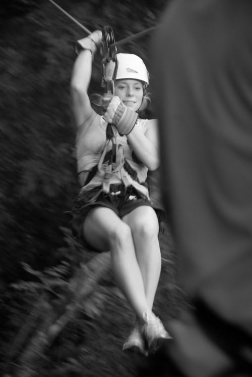 Natalie zip-lining near Montezuma.